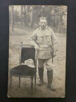 1910s RPPC Postcard a Austrian Soldier with Franz Joseph I 5 hell stamp