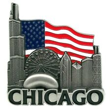 Chicago with American Flag Metal Fridge Magnet