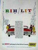 """1962 Chevrolet Impala HERTZ RENT A CAR Original Print Ad 8.5 x 11"""""""