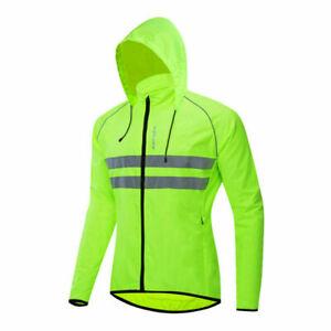 Men Cycling Hooded Jacket Reflective Waterproof Running Windbreaker Coat Jersey