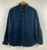 Faded Glory Mens Button Up Shirt Size Large Navy Blue Long Sleeve