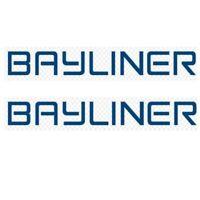 Bayliner Capri Emblem Decal 8/'/' x 2-1//8/'/' NEW OEM Blue White Chrome badge oval