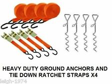 4 x Heavy Duty Caravan Awning storm peg stake anchor Ratchet tie down Strap NEW