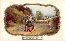BR69970 the road to the fair painting postcard  sheep donkey  uk