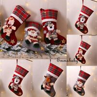 Christmas Stocking Sock Santa Claus Candy Gift Bag Xmas Tree Hanging Decors New