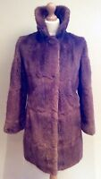 VINTAGE  BROWN REAL  FUR COAT JACKET  SIZE 12