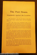 """The Pest House Arguments Against the Location"" Objections 1896"