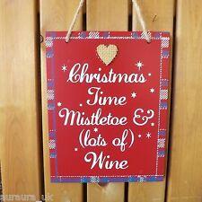 Rojo Navidad Placa Decoración Muérdago & (un montón de ) vino Corazón