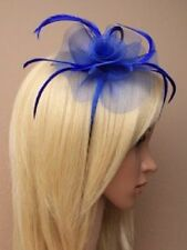 Royal Blue Looped Net & Feather Fascinator on Alice Band - Wedding Races Prom