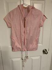 Vintage Prada Women's Pink Short Sleeve Zip Hood Top  Size M