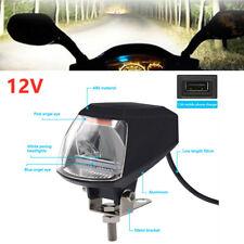 Motorcycle LED Lamp Bead Pink Blue Angel Eye+White Headlight w/USB Charging Port