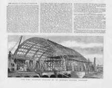 1876 Antique Print - SCOTLAND GLASGOW NEW RAILWAY STATION ST ENOCH SQUARE (157B)