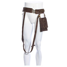 Steampunk Harness Belt w/ Pouch Unisex Leather Brown Mad Max Wasteland Costume