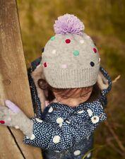 Joules Girls Bella Pom Pom Knit Hat - Grey Marl