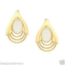 Belle Noel Kim Kardashian 14kt plated Large Teadrop earrings w/white cat's eye
