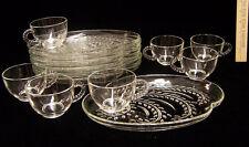Vintage Set 14 Piece Federal Glass Snack Hospitality Set 7 Trays 7 Cups Leaf