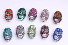 10pcs DIY Skull Crystal Pave Charms Connector Spacer Jewelry Making Bracelet