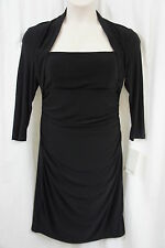 JS Boutique Jersey Couture Dress Sz 12 Black 3/4 Sleeve Business Cocktail Dinner
