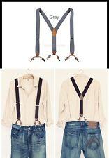 "Mens Elastic Leather Suspenders Adjustable Braces 6 Clip-On 1.3"" Width 5 Colors"