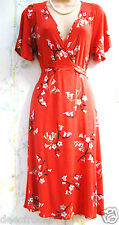 SIZE 16 30's 40's LANDGIRL WW2 STYLE TEA DRESS FLORAL STRETCH RED # EU 44 US 12