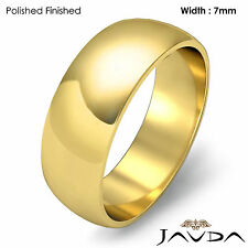 7mm 14k Gold Yellow Simple Mens Wedding Solid Band Dome Plain Ring 7.9g 12-12.75