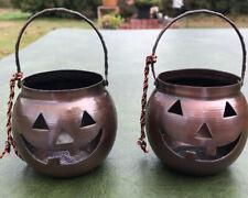 "Pair of Vintage Hosley U.S.A. Halloween Pumpkin Jack-O-Lantern Candle Holders 4"""