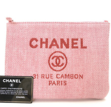 Authentic Chanel 31 Rue Cambon Clutch Small Canvas Bag Pouch Pink Box & Receipt