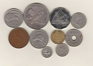10 COINS FROM FIJI & NEW ZEALAND 1934 TO 1998 IN GOOD FINE OR BETTER CONDITION