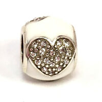 Authentic Brighton Blissful Hearts Bead, J96543, Silver/White Finish, New