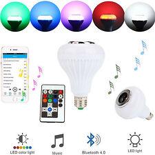 Bluetooth 12W LED RGB Bulb Wireless Light Speaker Smart Music Play Lamp + Remote