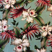 HTP020 Tropical Orchids Sage Floral 100% Cotton Lava Cloth Home Decor Fabric