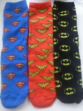 Superman Wonder Woman Batman Socks Girls Ladies 4-8  (3) Pack Justice League