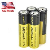 4 PCS Genuine Boruit 18650 High Drain Li-ion Rechargeable Battery 4000mAh 3.7V