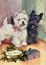 WESTIE SCOTTISH TERRIER WITH GIFT SINGLE DOG PRINT GREETING CHRISTMAS CARD