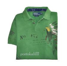 POLO RALPH LAUREN Rugby Shirt S 100% Cotton Short Sleeve Green Indian Print NWT
