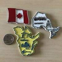 Lot of 3 Canada Travel Souvenir Magnets Canada Flag Ontario Quebec #37045