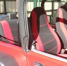 Jeep Wrangler Neoprene Seat Cover Red/Black Full Set Front+Rear 1989-90 YJ89RD