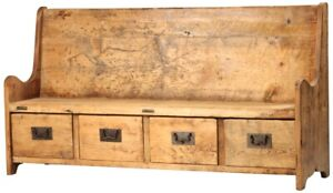 """67"""" L Rustic Bench Reclaimed Old Wood Hand Crafted Natural Distress 4 Drawers"""