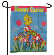 "HAPPY EASTER DUCK DUCKY EGGS GARDEN BANNER/FLAG 12""X18"" SLEEVED POLY"