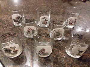Set of 8 Saturday Evening Post Norman Rockwell Bar Drinking Glasses