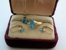 14K YELLOW GOLD CHAIN 10K BLUE TOPAZ RING/PENDANT/EARRING SET