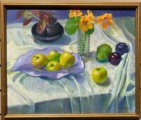 Original Oil Painting On Canvas, Still life,  Signed  Weber, Framed