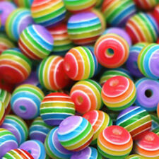 200pcs Wholesale Multicolor Striped Resin Round Spacer Loose DIY Beads 6mm