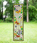 10' x 36' Handcrafted stained glass window panel Butterfly Garden Flower