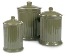 OmniWare Simsbury Stoneware Canister, Set of 3 - Olive