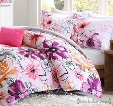 OLIVIA PINK PURPLE 5pc COMFORTER SET : FLORAL GREY Watercolor Flowers GIRLS TEEN
