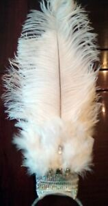 White & Silver Ostrich Feather Jeweled SHOWGIRL HEADDRESS Burlesque Costume USA