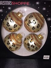"LEOPARD Glass Christmas Ornaments Set Of 4 ANIMAL PRINT 3"" Glitter Ball"