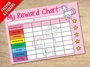 Unicorn Reward Chart - Girls Potty School Sticker Star Chart - Stickers & Pen