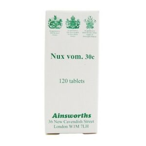 Ainsworths Nux Vomica 30C Homoeopathic Remedy 120 Tablets